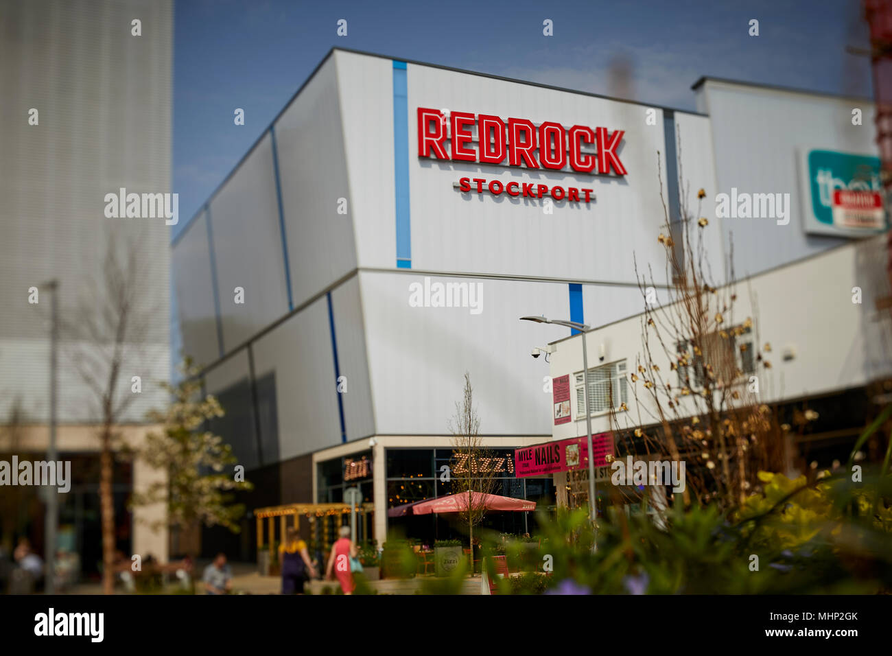 Stockport town centre, Merseyway Redrock development from princess Street looking at the controversially names Suffragette Square - Stock Image
