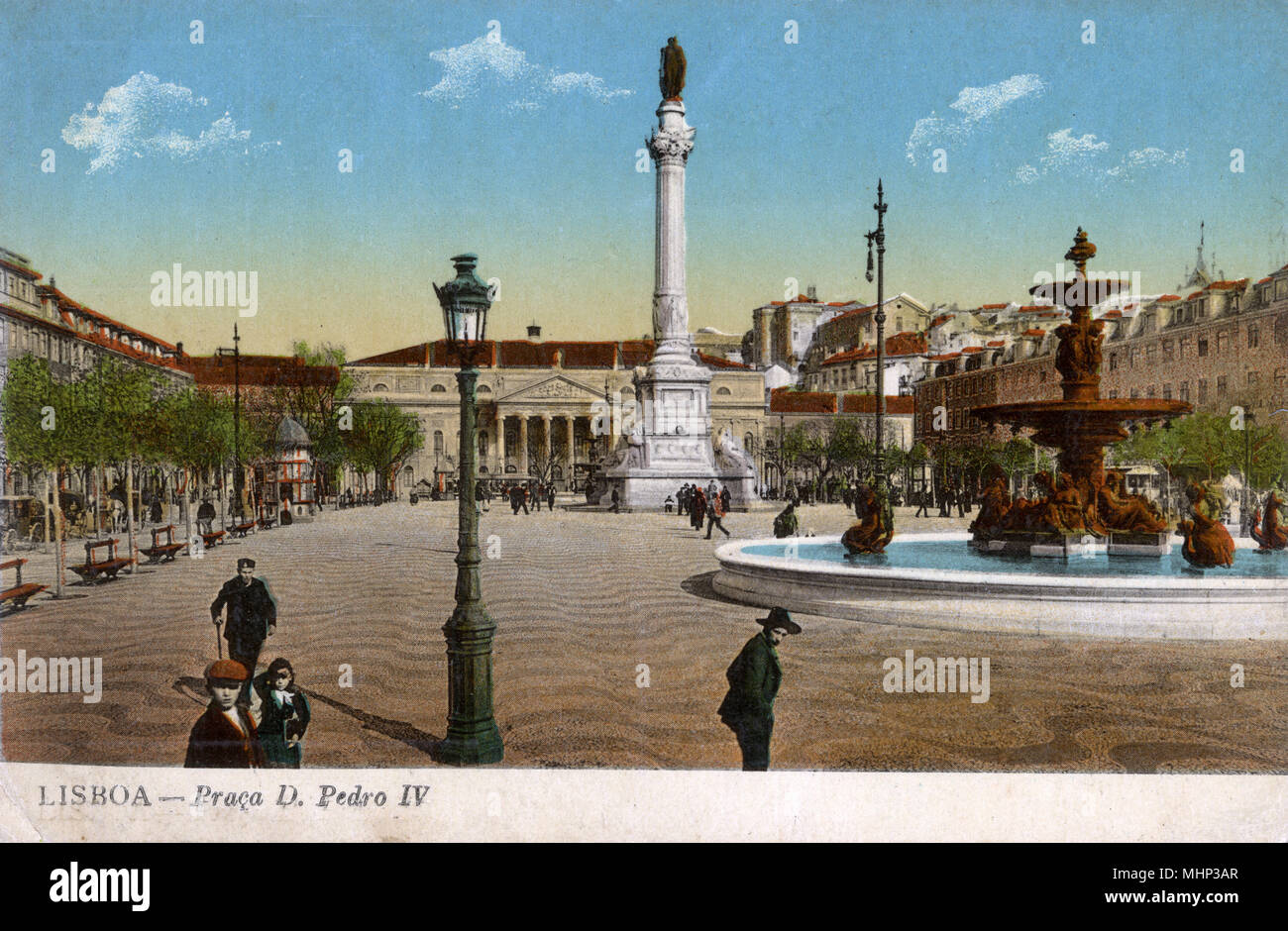 Praca Dom Pedro IV (King Pedro IV Square, also known as Rossio Square), Lisbon, Portugal, with a statue of Pedro IV on a column, the National Theatre behind, and a fountain on the right.      Date: circa 1908 Stock Photo