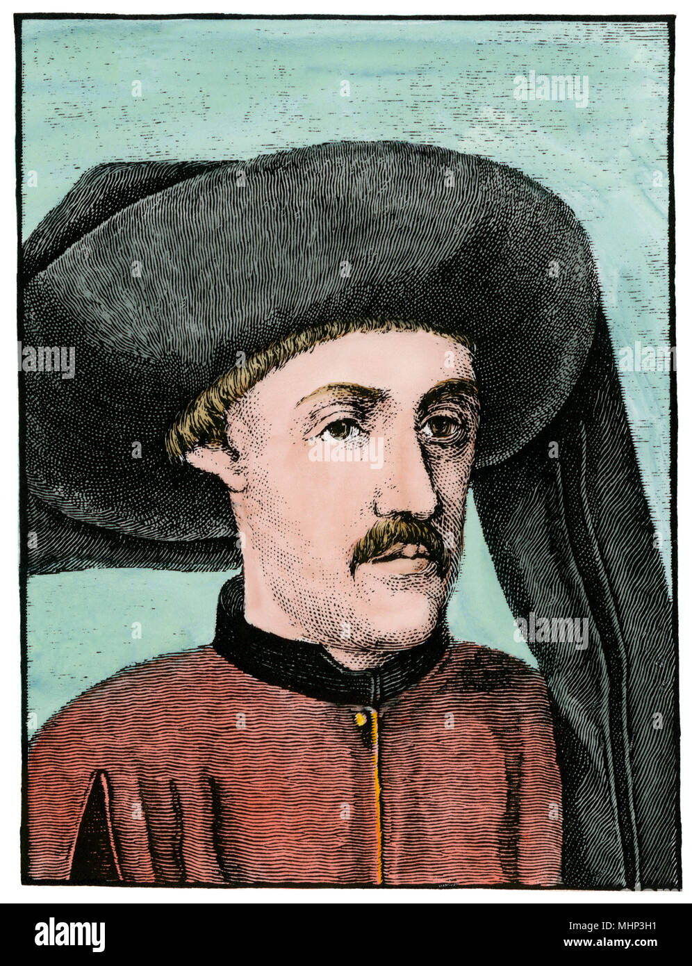 Prince Henry of Portugal, known as the Navigator. Hand-colored woodcut - Stock Image