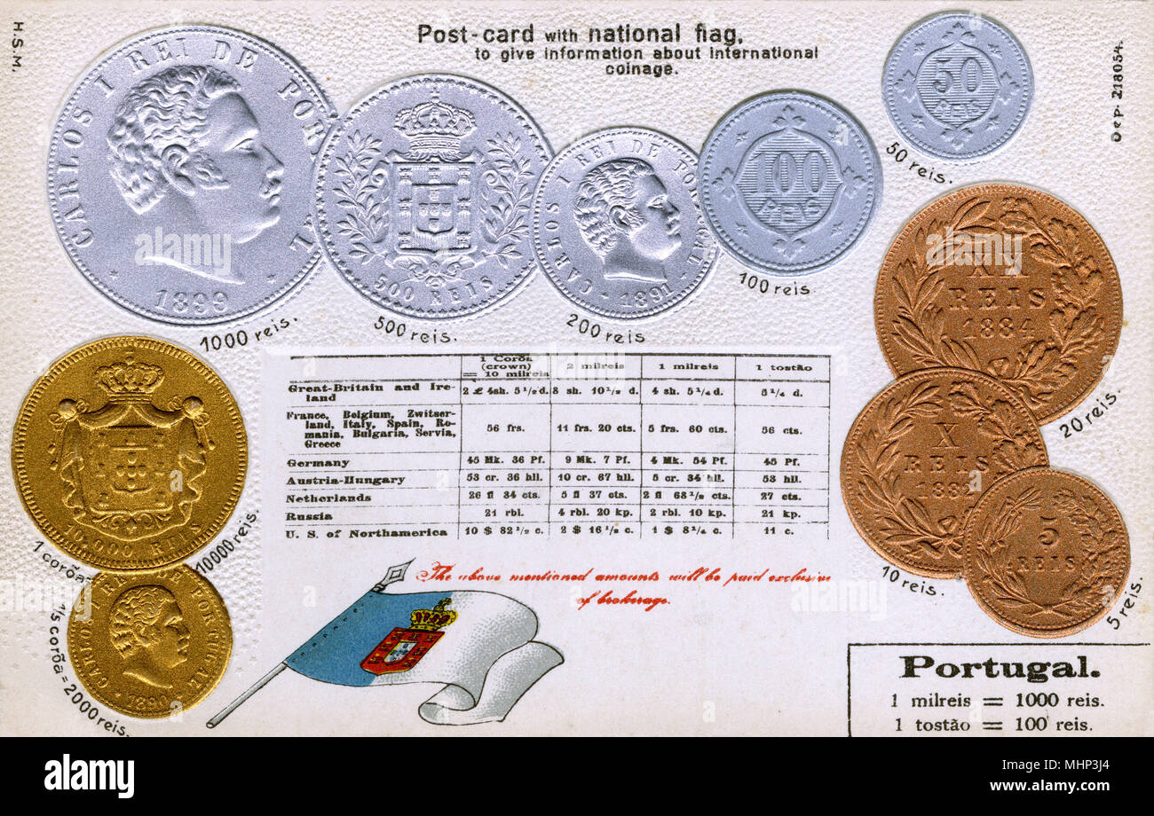 Postcard explaining the currency of Portugal, with equivalent values for other countries.      Date: circa 1900 - Stock Image
