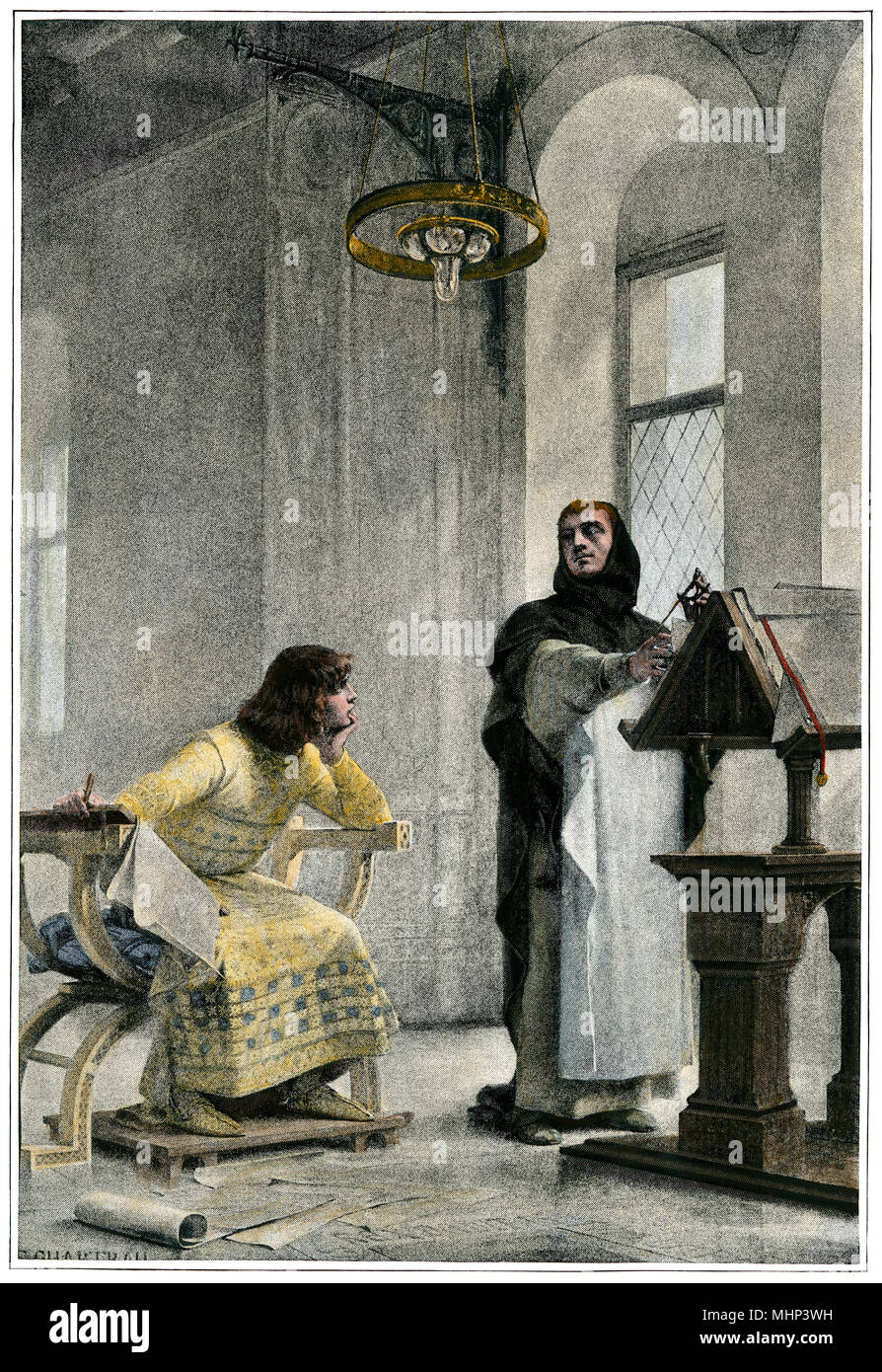 Education of Louis IX (Saint Louis), King of France. Hand-colored halftone of an illustration Stock Photo