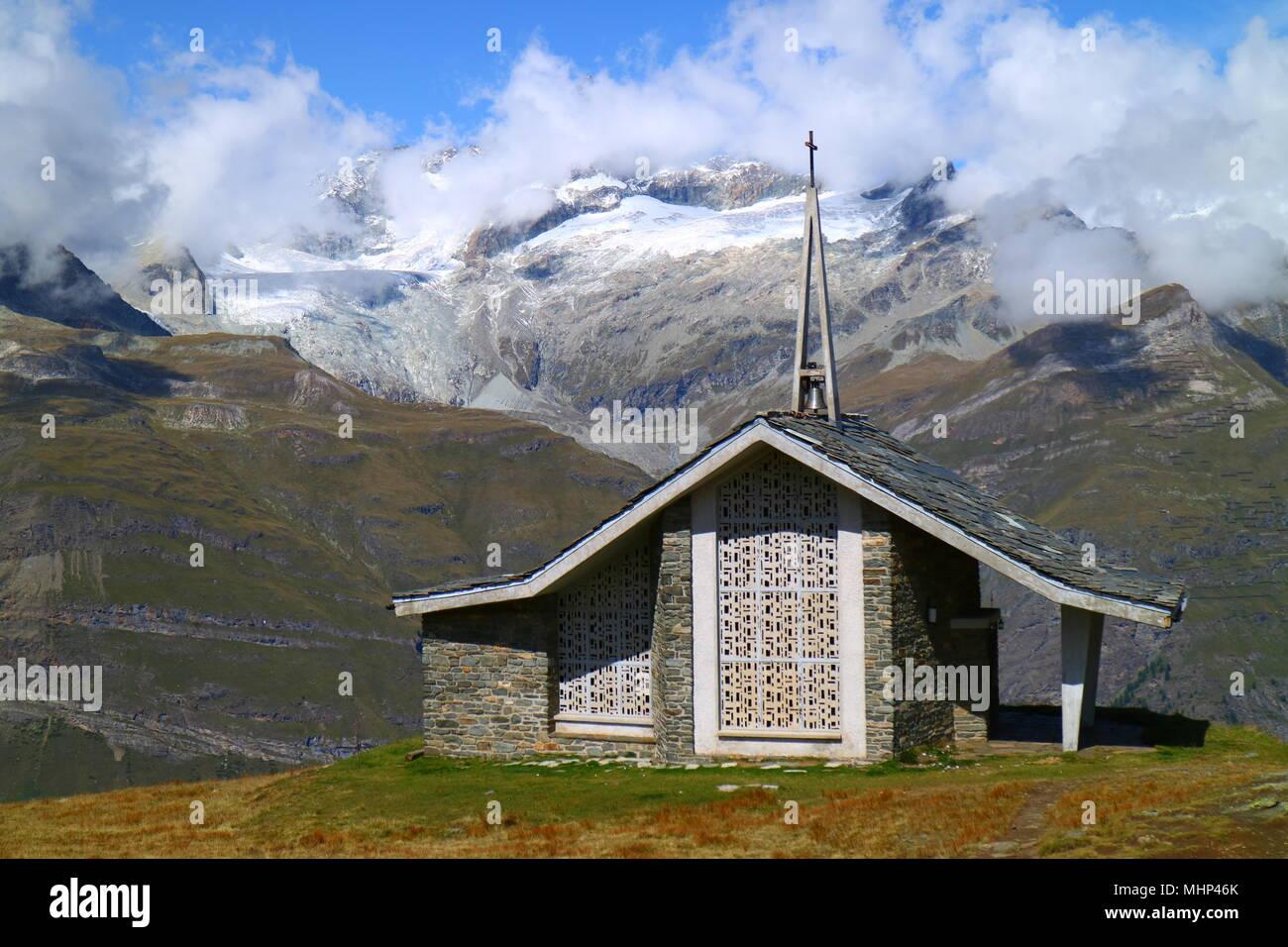 Riffelberg Matterhorn Chapel Stock Photo