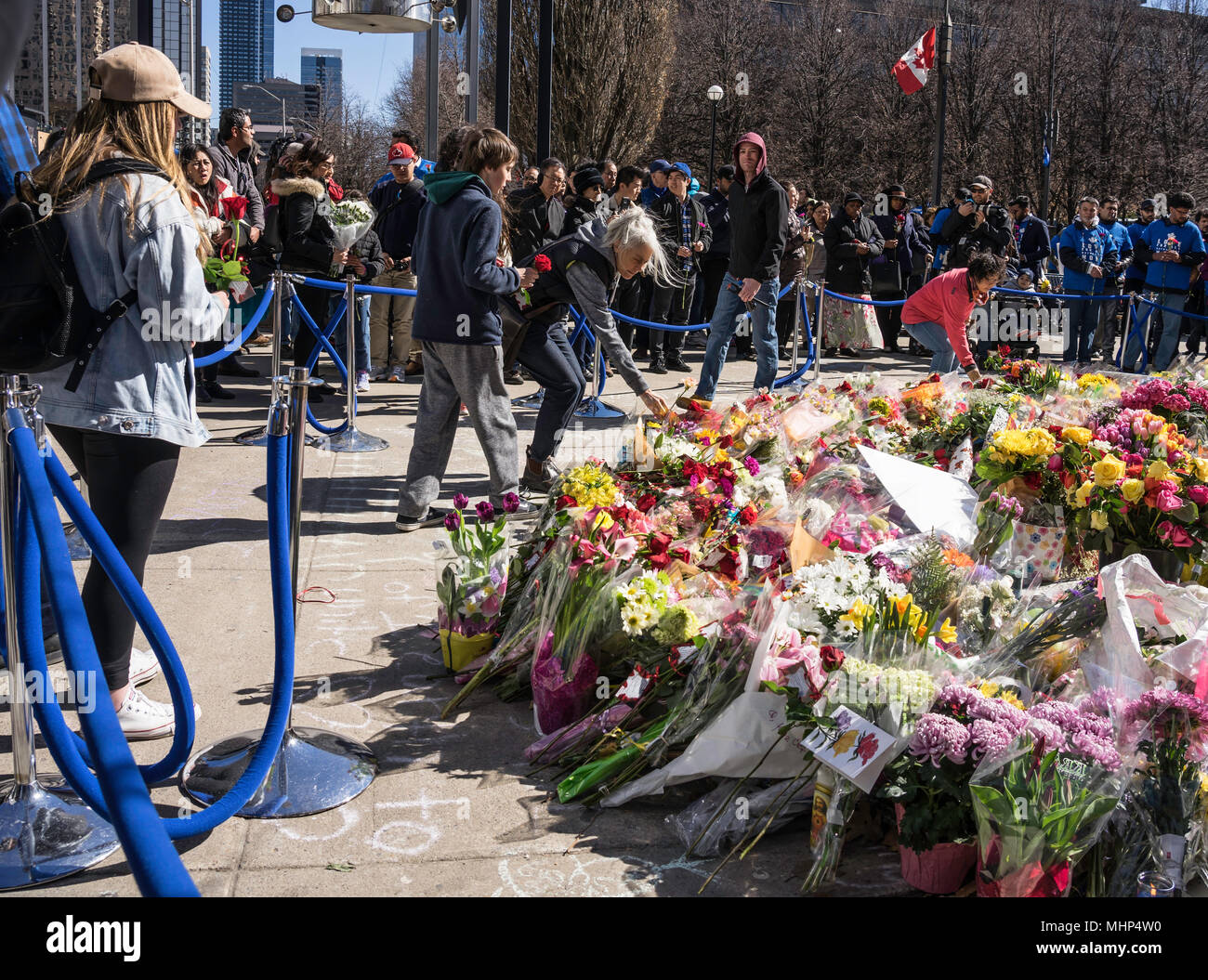 Van attack, a city in mourning,Toronto Strong tragedy and carnage on Yonge Street 10 people killed by a van driving on sidewalk, Toronto,Canada - Stock Image