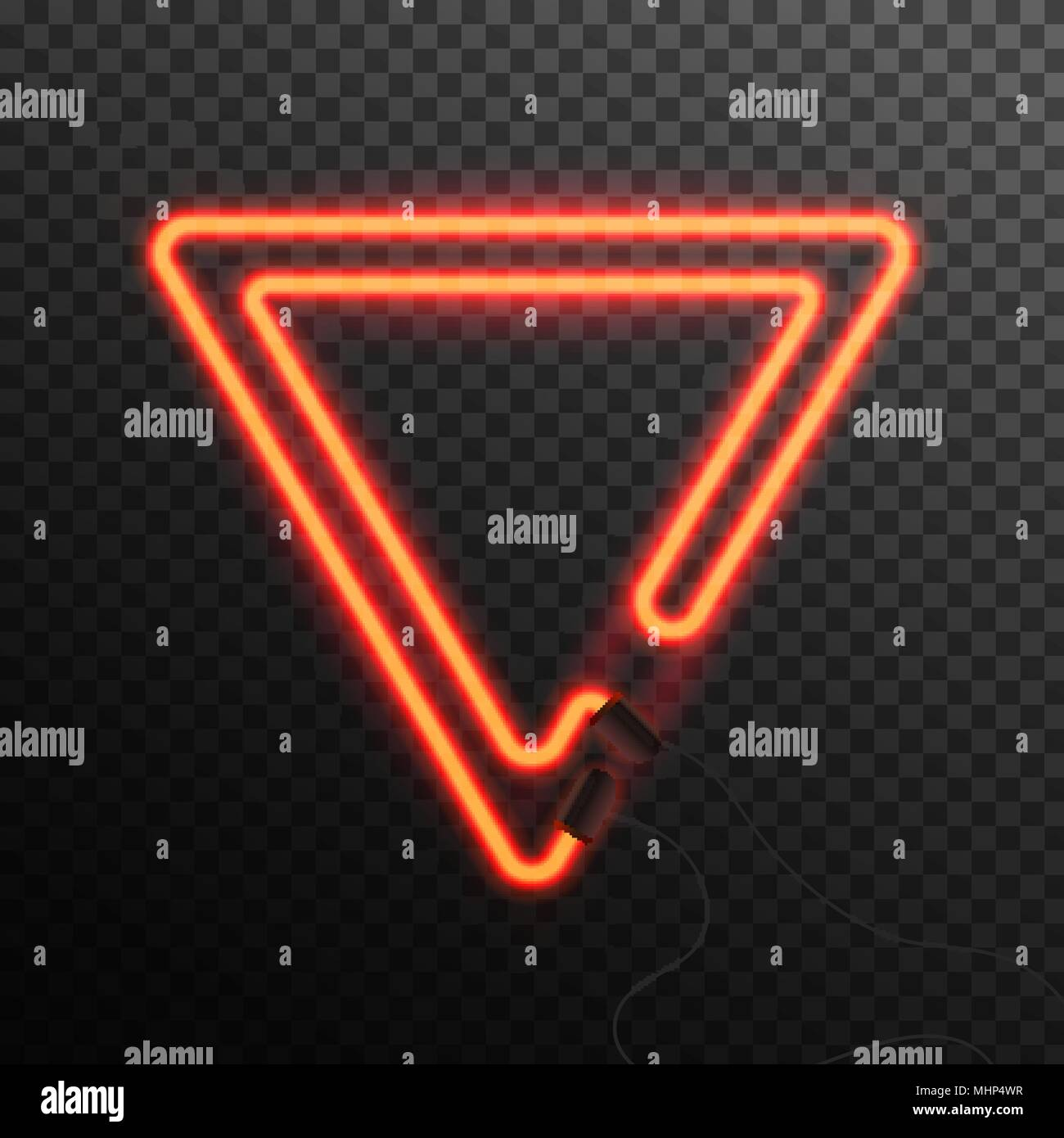 Glowing Neon effect abstract triangle  Night club or bar concept on