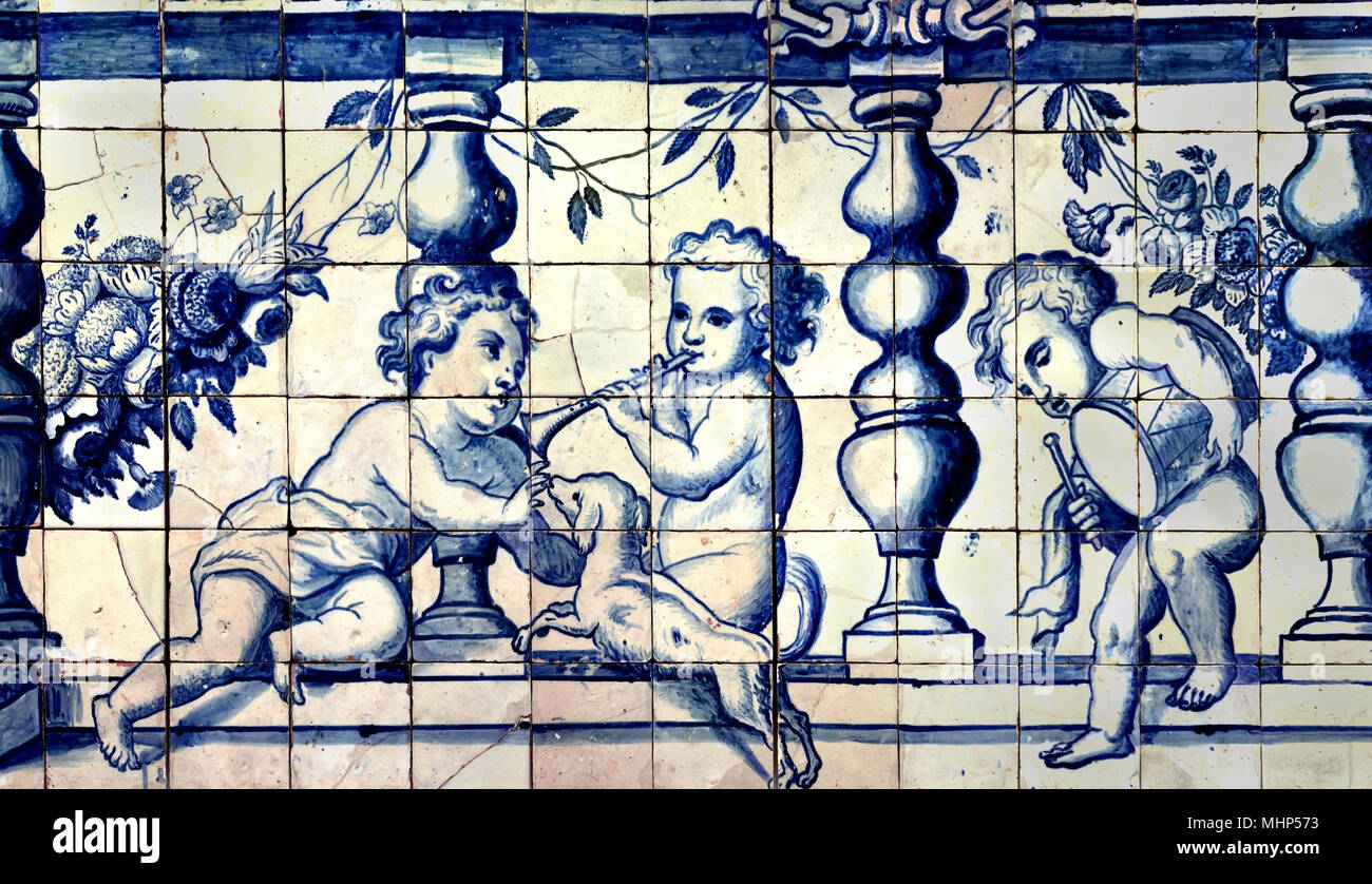 Balustrade with Children by Manuel dos Santos Lisbon 1700-1725 18th Century. Portuguese Azulejo - Blue wall  Tiles, Portugal - Stock Image