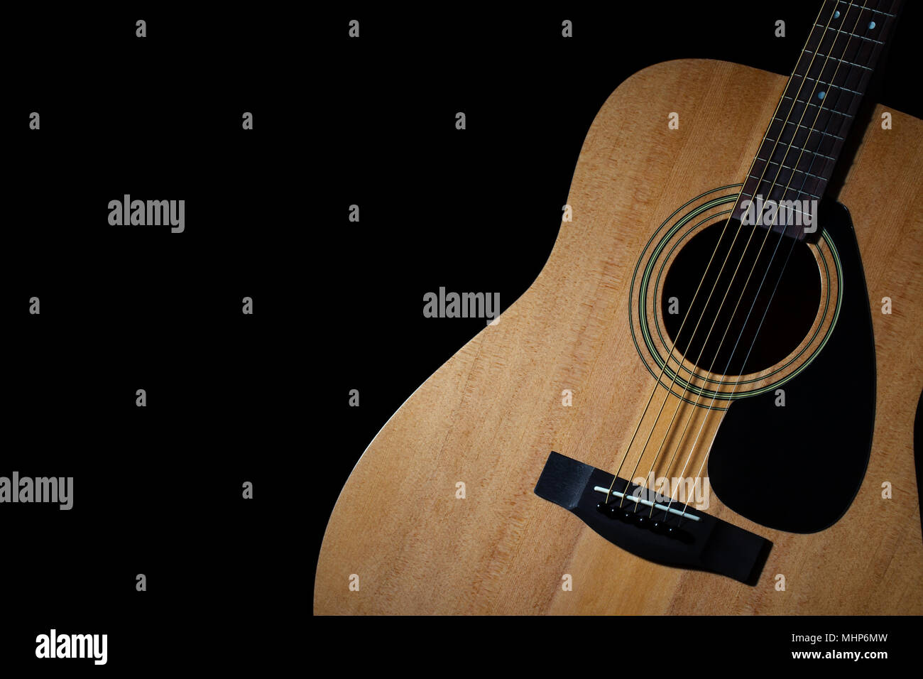 Modern Acoustic Guitar On Black Background Stock Photo 183041065