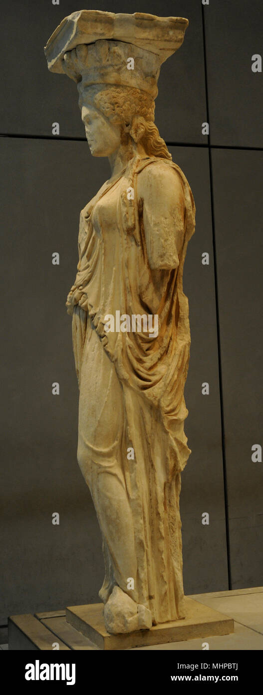 Greek art. The Caryatid Porch of the Erechtheion. Draped female figures as supporting columns. Acropolis of Athens, 421-407 BC. Greece. Acropolis Museum. Athens. Greece. - Stock Image