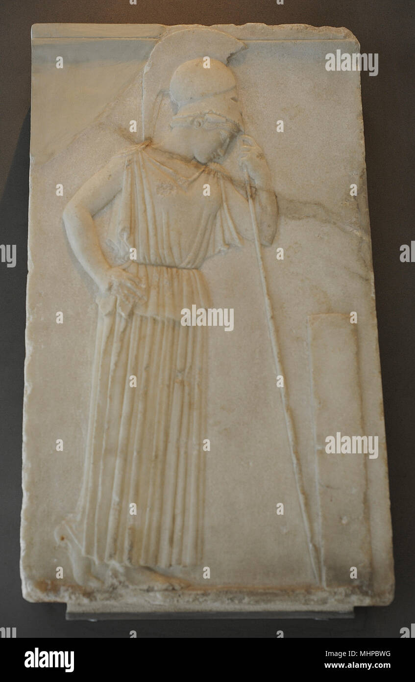 Relief of the Pensive Athena. Athena is presented in front of a stele leaning on her spear in a relaxed manner, c. 460 BC. Marble from Paros. Acropolis Museum. Athens. Greece. - Stock Image