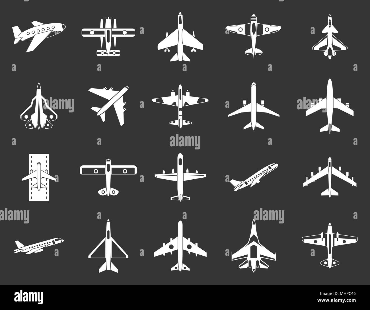 Plane icon set grey vector - Stock Image