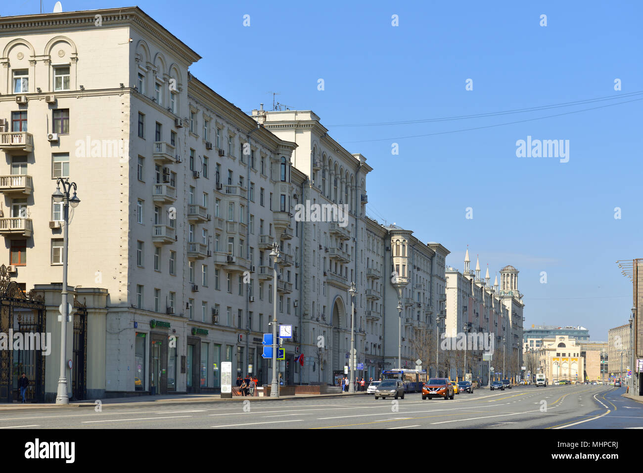 MOSCOW, RUSSIA - APRIL 30, 2018:  Tverskaya Street, known between 1935 and 1990 as Gorky Street, main radial street in Moscow - Stock Image