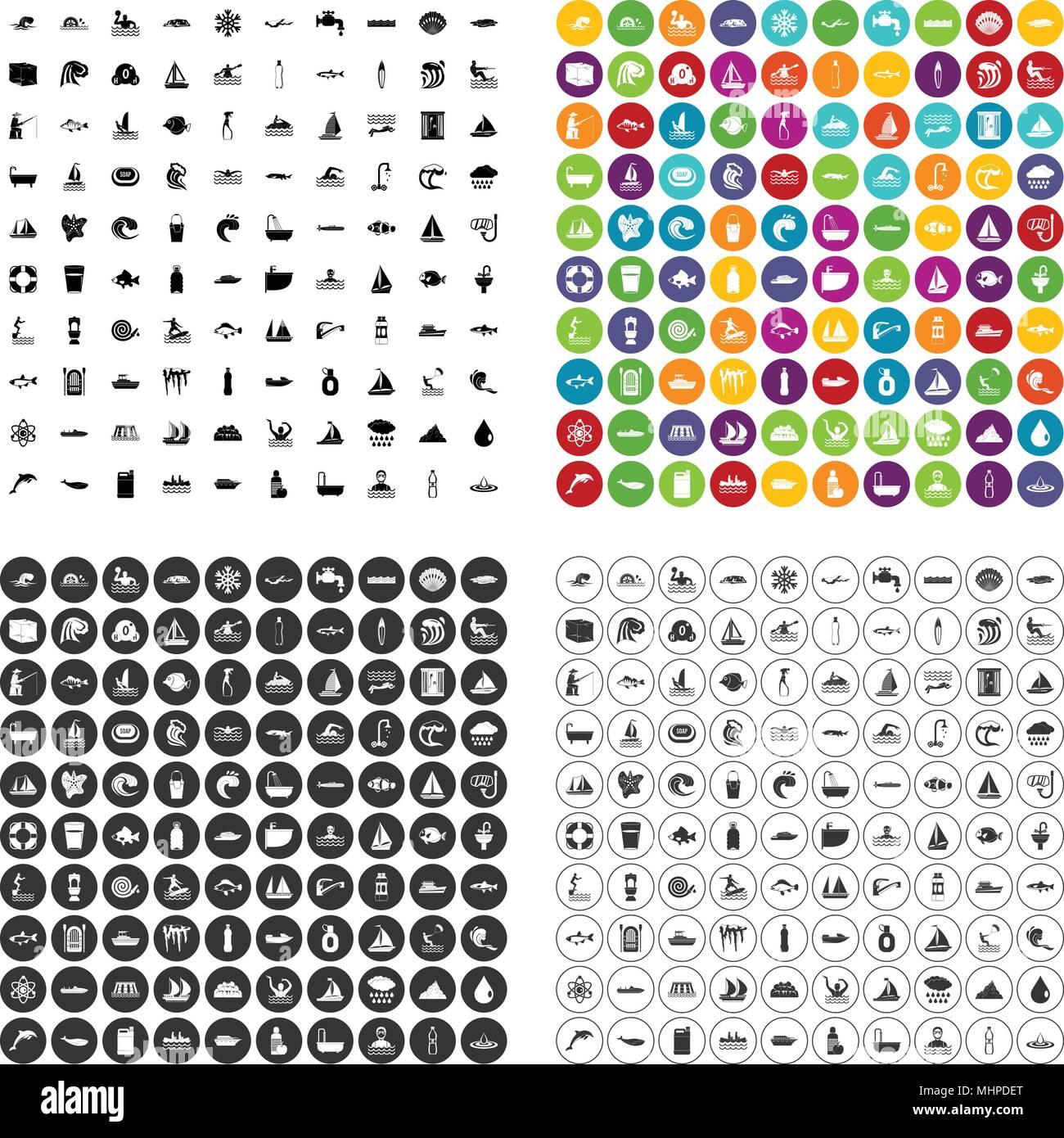 100 aquaculture icons set vector variant - Stock Vector