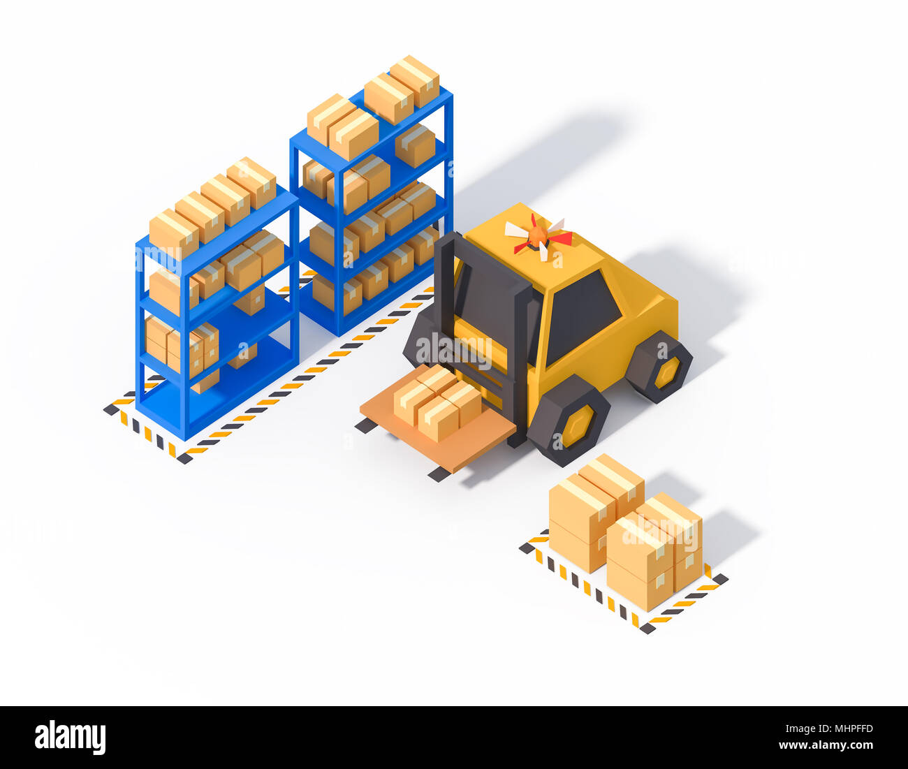 warehouse operations storage isometric low poly 3d render isolated