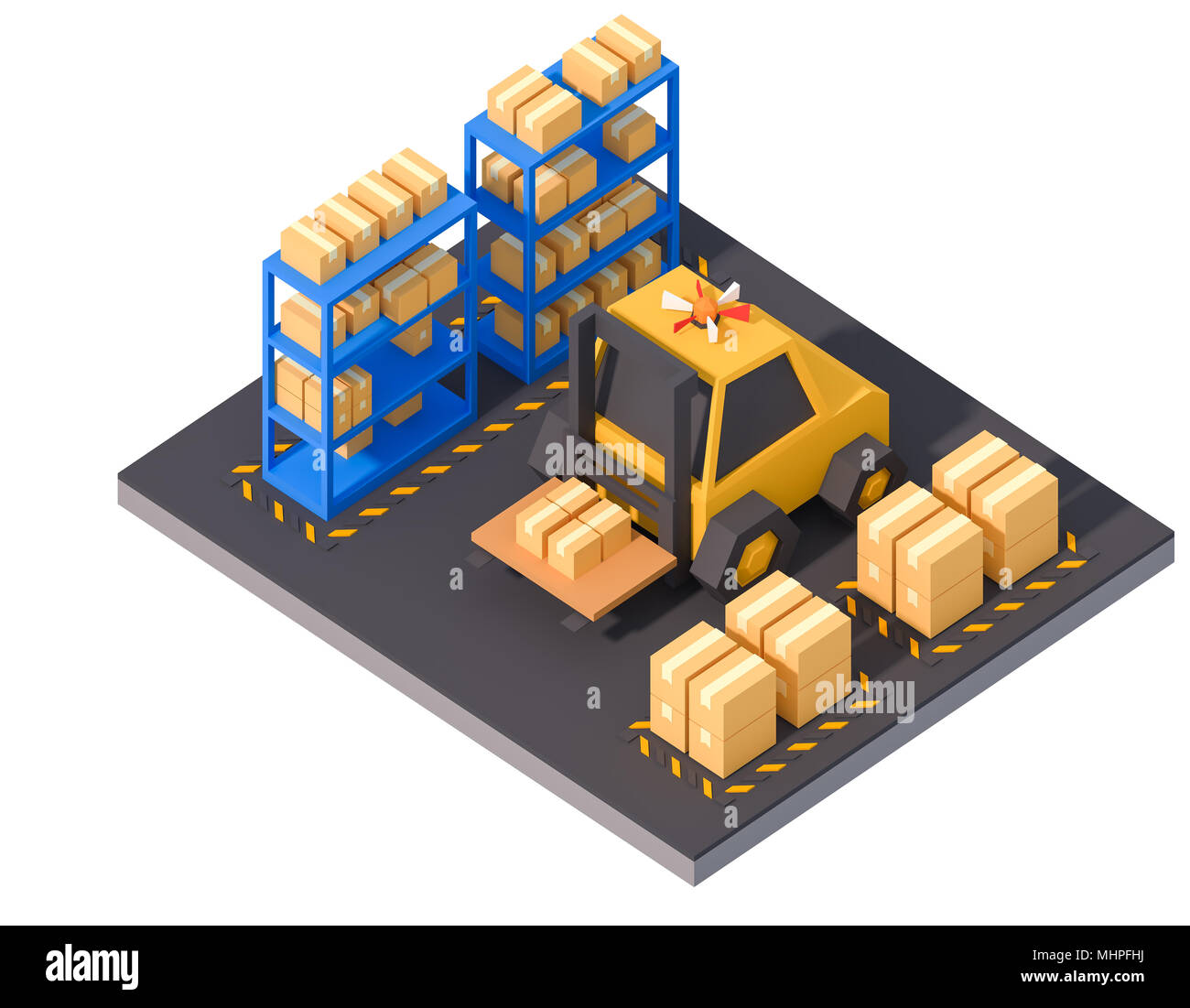 warehouse storage product logistic operation isometric lowpoly art factory work production line isolated on white 3d render. - Stock Image
