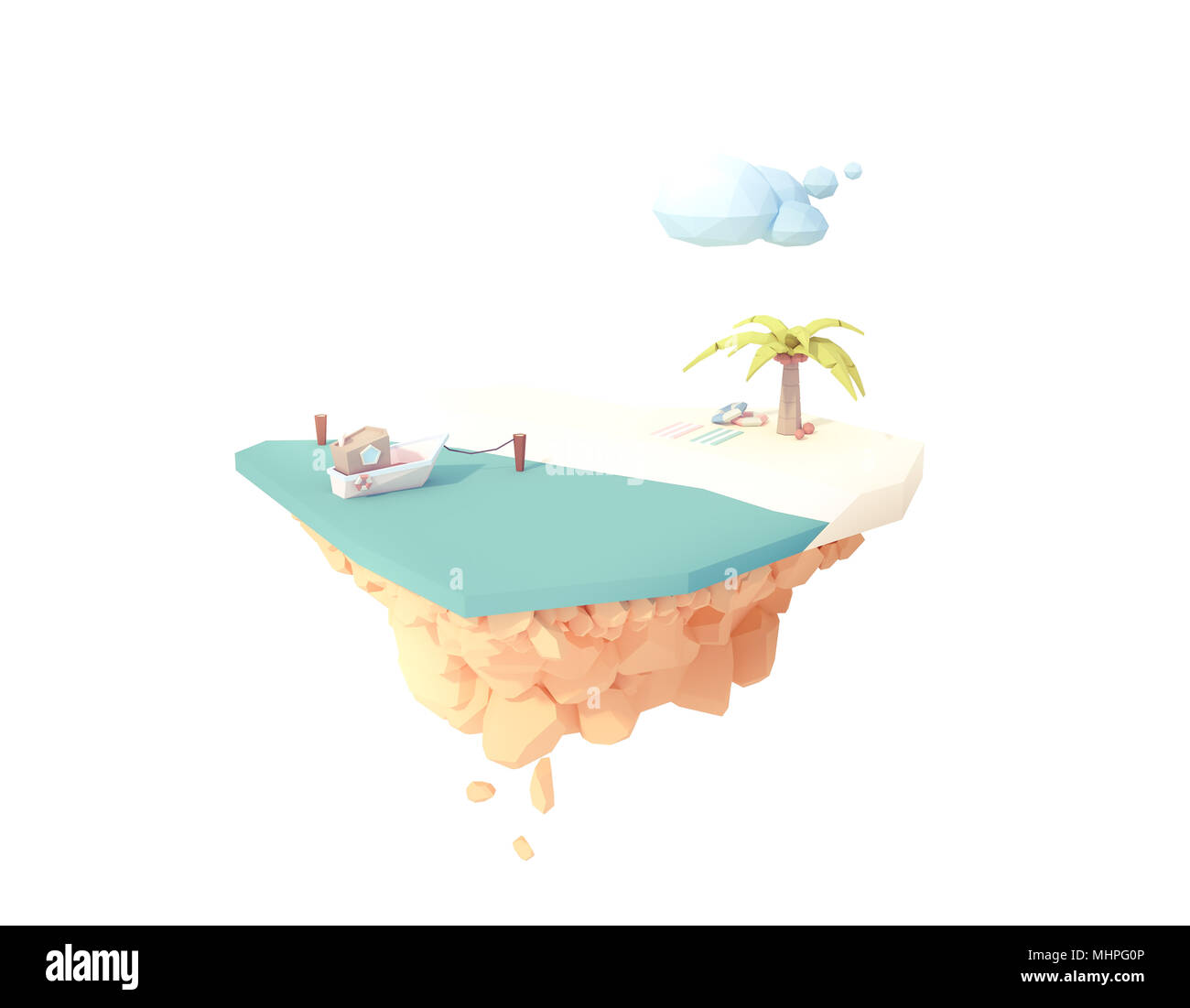 isolated desert private white sand beach on floating island summer vacation travel low poly 3d illustration. seascape minimal art style. - Stock Image