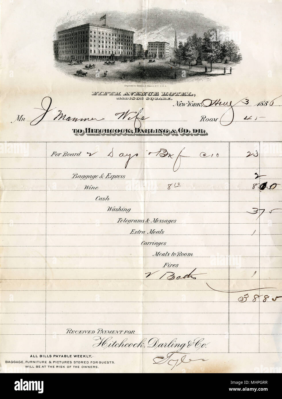 Hotel bill, Fifth Avenue Hotel, Madison Square, New York, USA, dated 3 August 1886, for two days' board in Room 45, totalling $38.85.      Date: 1886 Stock Photo
