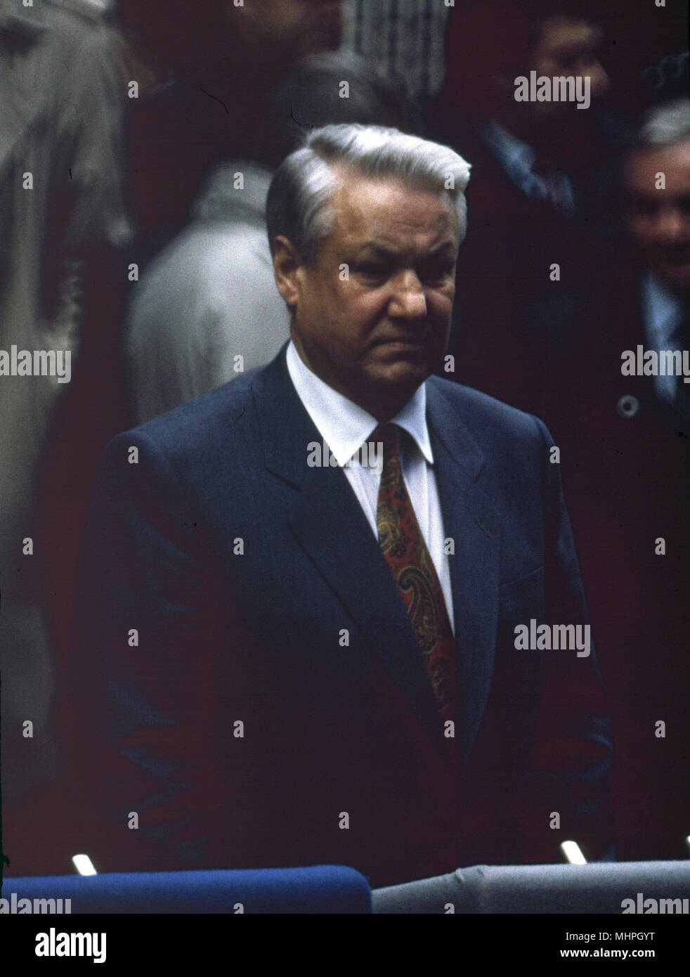 Boris Yeltsin, Russian President, at Downing Street, London, in January 1992, where he was making a joint statement with John Major, British Prime Minister.      Date: 1992 - Stock Image