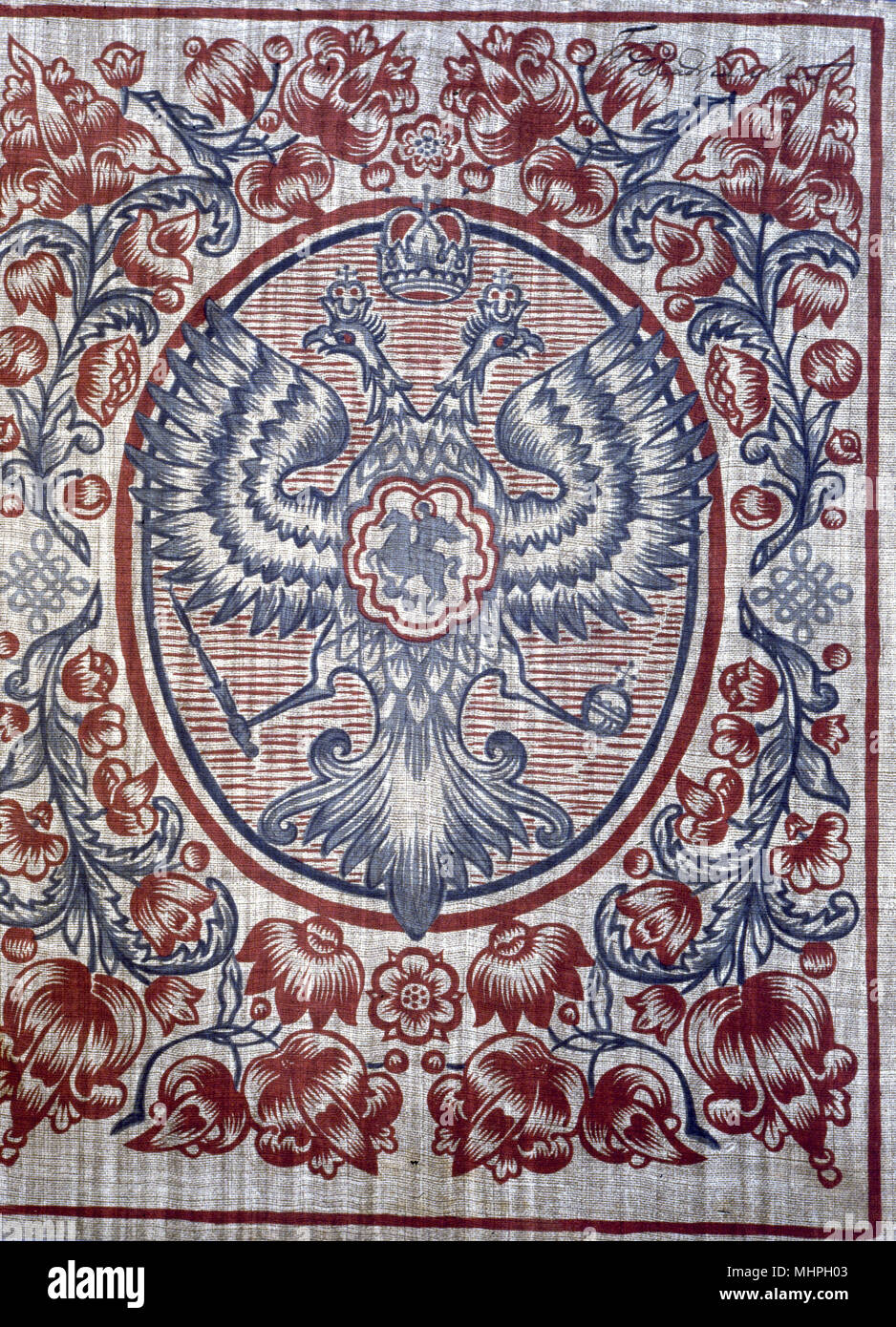 The Imperial Russian coat of arms (Romanov family) in red, blue and