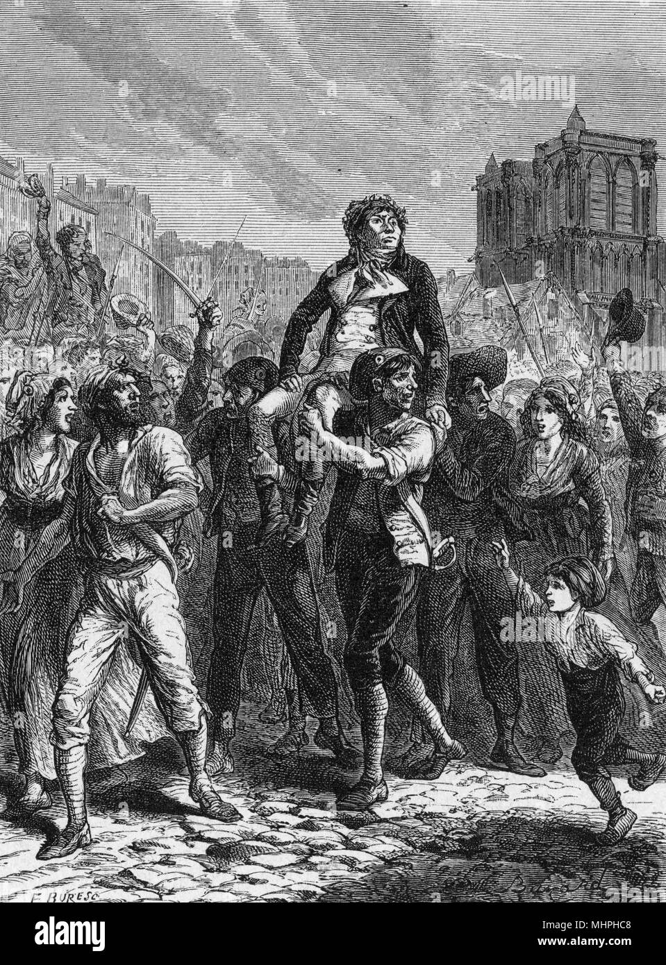 The triumph of Marat - he is  borne aloft by enthusiastic  fellow-revolutionaries.  But  pride cometh before a fall -  he will soon be murdered by  Charlotte Corday...     Date: 29 April 1793 - Stock Image