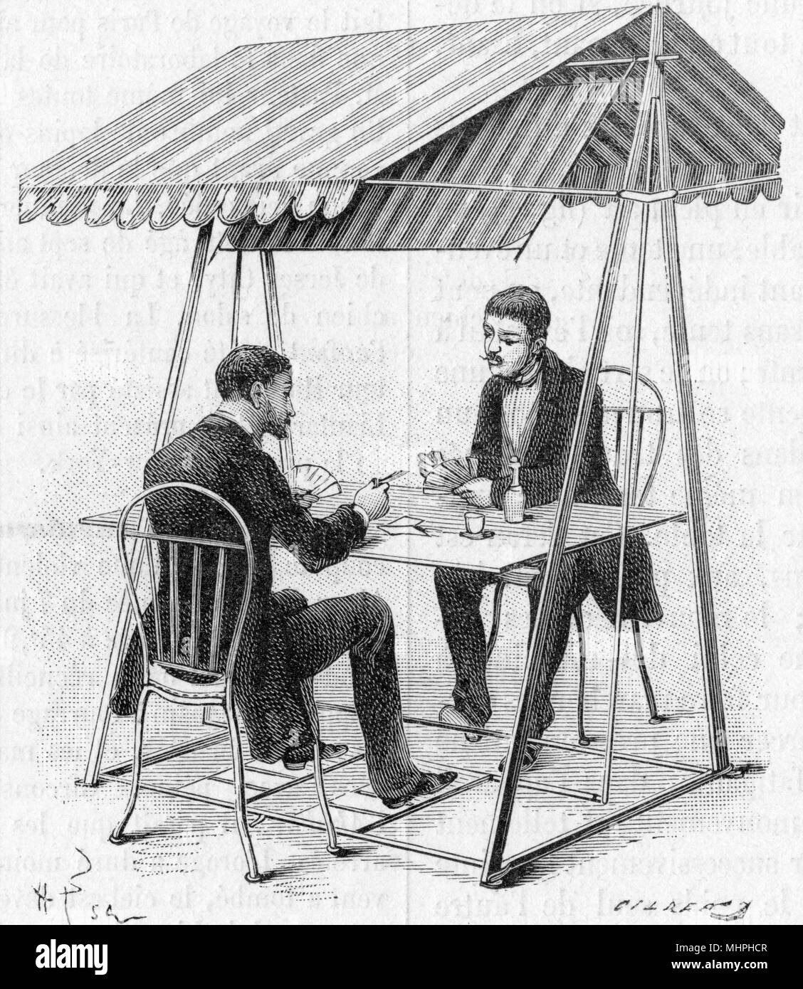 "A ""punkah""-type of ventilator for keep cool during warm weather or heat wave, comprising of a large fan flap set above a table, operated by foot pedals. Perfect for an al-fresco game of cards!     Date: 1886 - Stock Image"