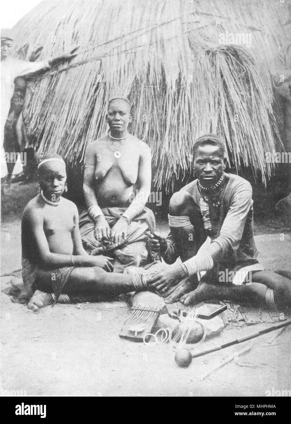 ZIMBABWE. South Africa. Adornment, Rhodesia; Matabele and Mashonas 1900 print - Stock Image