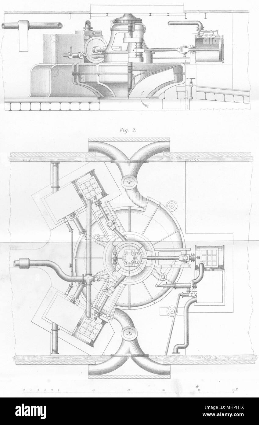 SHIPS. Ship. Ruthven's water jet propeller applied to HM waterwitch 1880 print - Stock Image