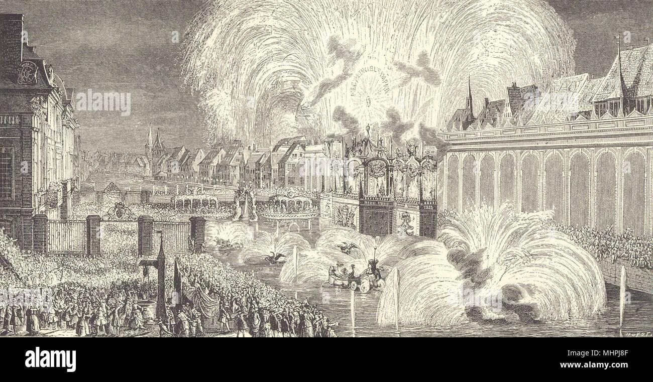 Fireworks at Strasbourg in 1744 1876 old print