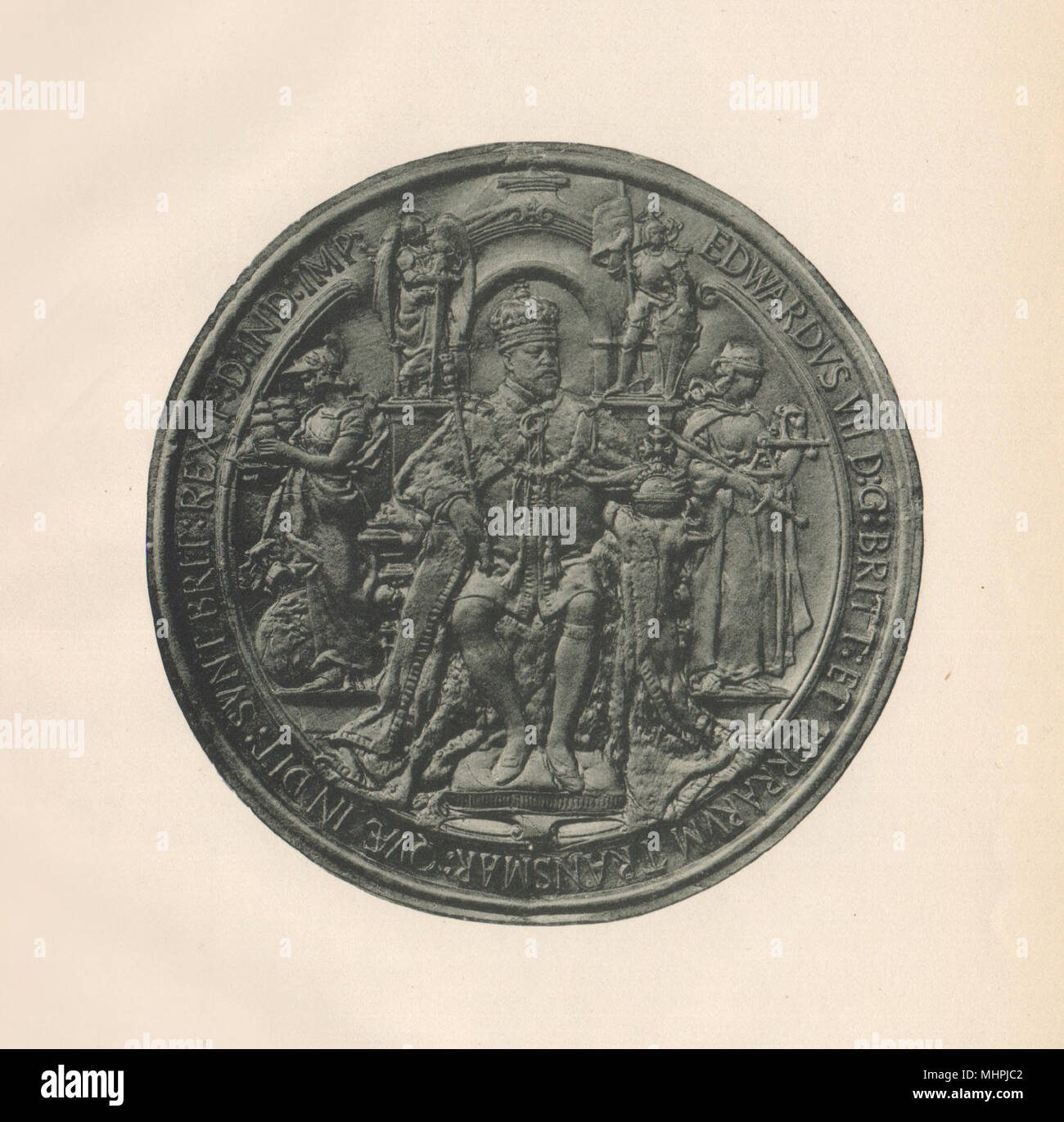 ENGLISH SEALS. Great Seal of King Edward VII (Obverse)  1907 old antique print - Stock Image