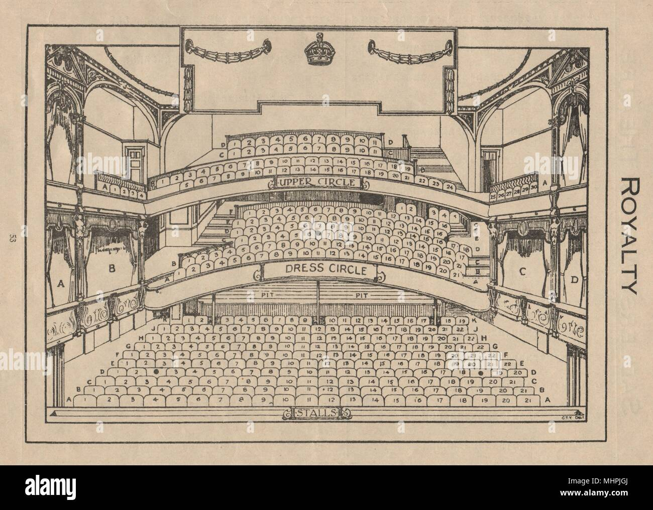 ROYALTY THEATRE. Vintage seating plan. London West End. Dean Street 1936 print - Stock Image