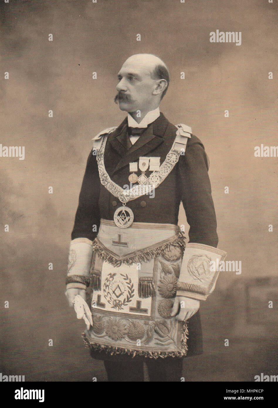FREEMASONRY. The Earl of Yarborough Provincial Grand Master of Lincolnshire 1882 - Stock Image