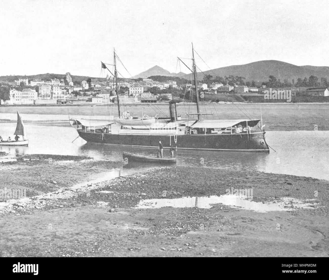PYRÉNÉES-ATLANTIQUES. Hendaye- Vue prise de Fontarabie 1903 old print - Stock Image