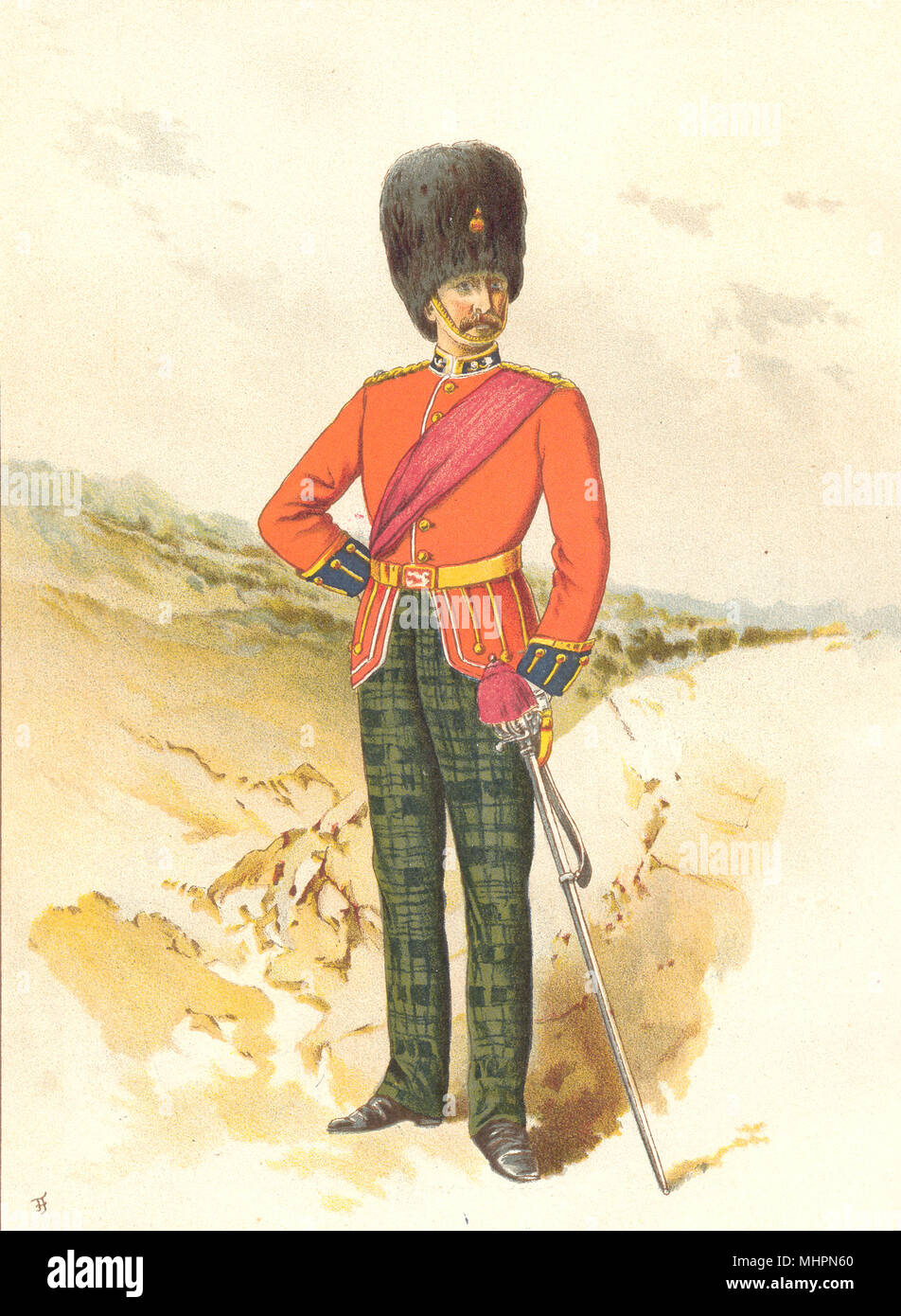 BRITISH ARMY UNIFORMS. The 21st – Royal Scots Fusiliers Regiment 1890 print - Stock Image