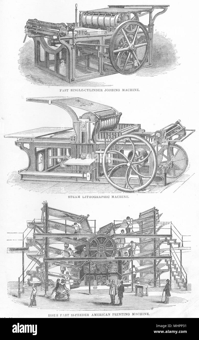 PRINTING.Single-cylinder Jobbing Machine;Steam Lithographic;Hoes American 1880 - Stock Image