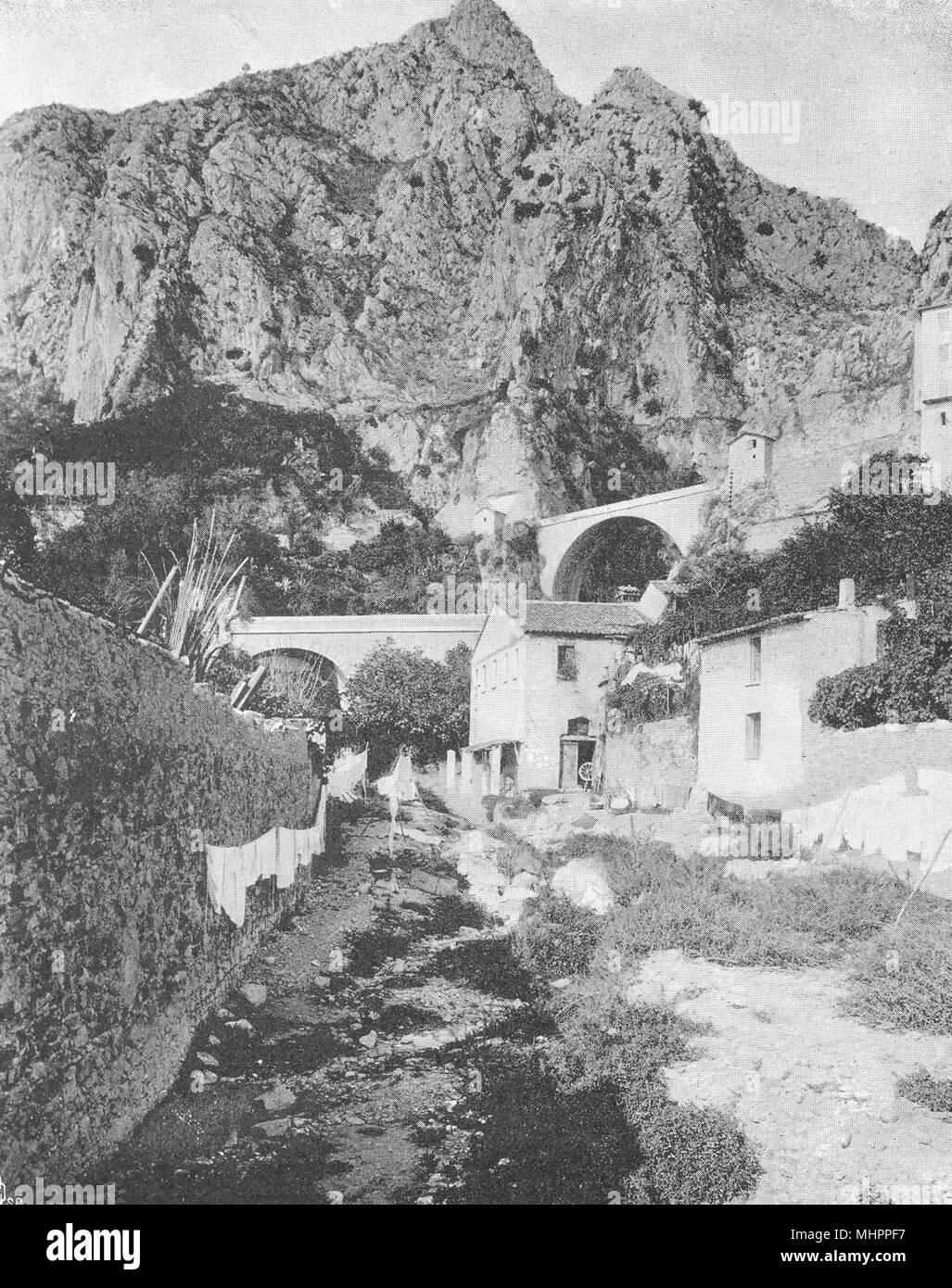 ALPES-MARITIMES. Le pont Saint-Louis, à Menton 1903 old antique print picture - Stock Image