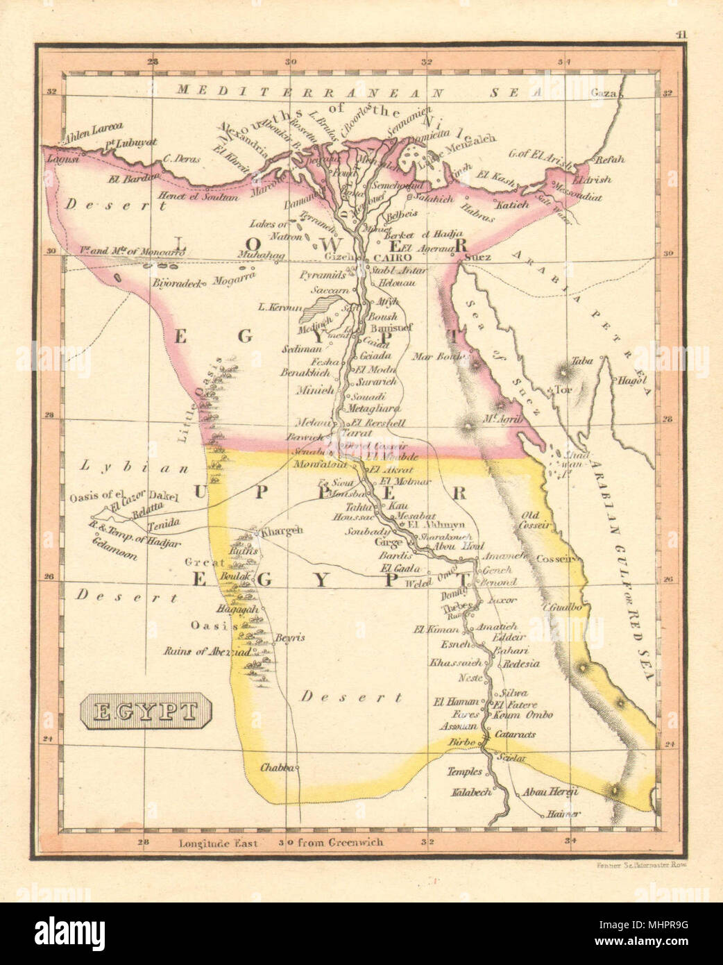 Egypt By Fenner Lower Upper Egypt C1830 Old Antique Map Plan