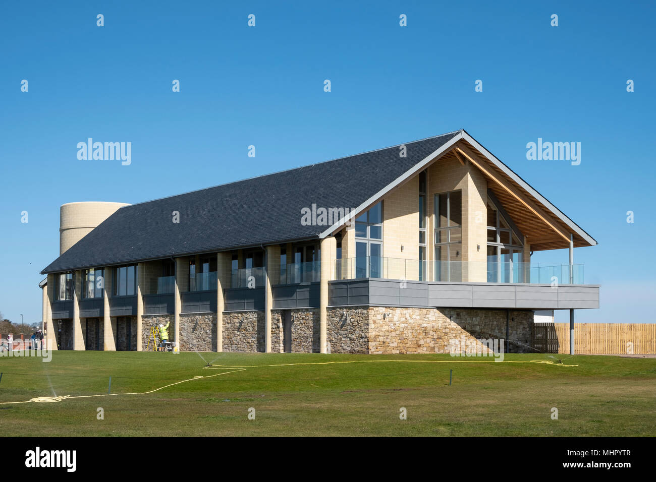 View of new clubhouse (opened April 2018) at Carnoustie Golf Links in Carnoustie, Angus, Scotland, UK. Carnoustie is venue for the 147th Open Champion - Stock Image