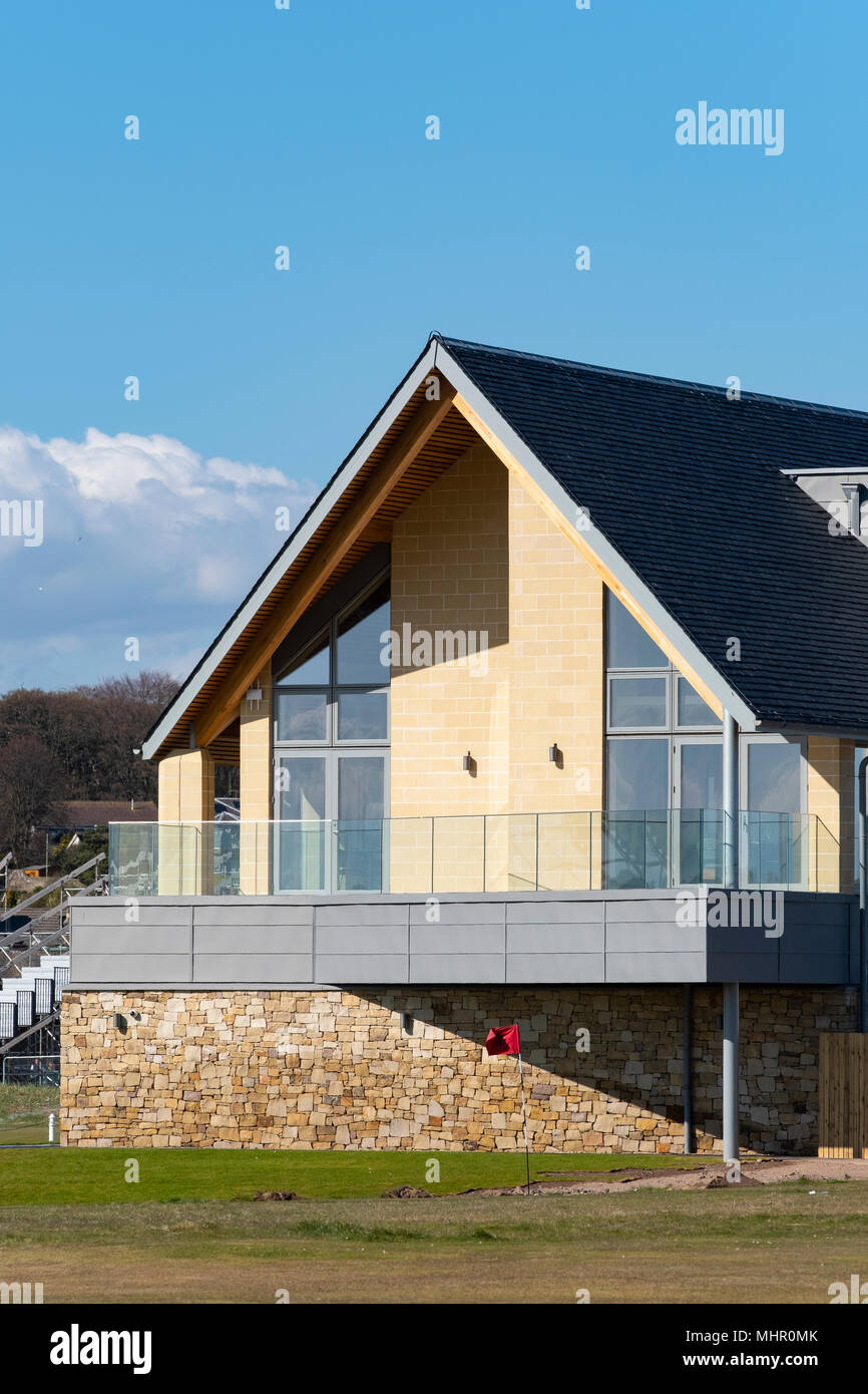 View new clubhouse 9opened April 2018)  at Carnoustie Golf Links in Carnoustie, Angus, Scotland, UK. Carnoustie is venue for the 147th Open Championsh - Stock Image