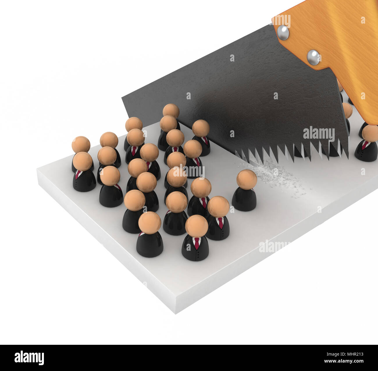 Crowd of small symbolic 3d figures, over white - Stock Image