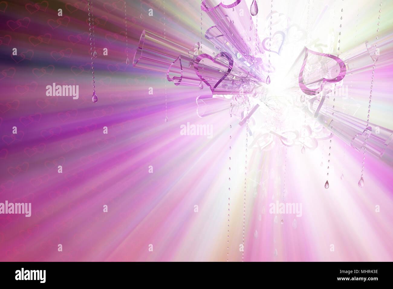 Light spectrum 3d Valentine heart symbol abstract, horizontal - Stock Image