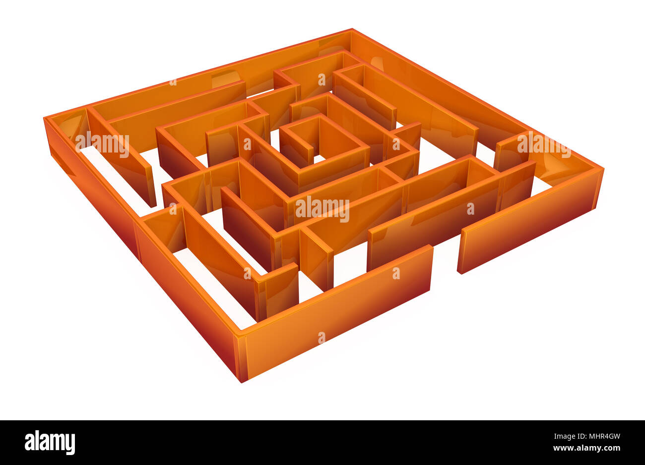 Square 3d labyrinth model, over white, isolated - Stock Image