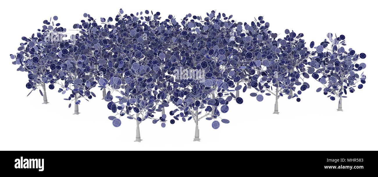 Solar power tree 3d, over white, isolated - Stock Image