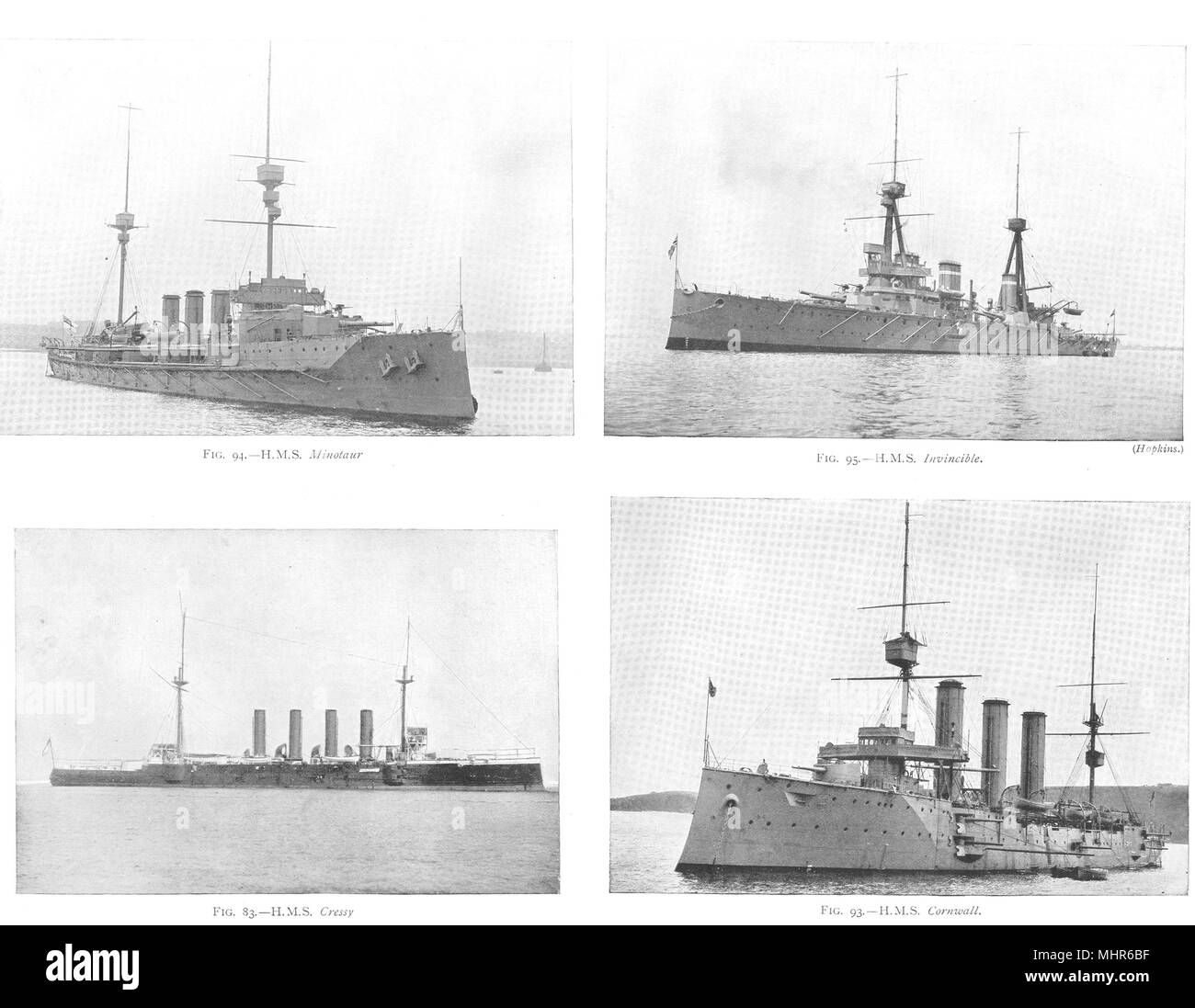 SHIPS. HMS Minotaur; HMS Invincible; HMS Crecy Cressy; HMS Cornwall 1910 print - Stock Image