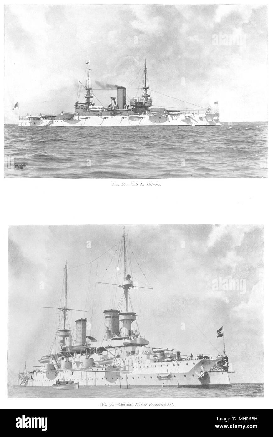 SHIPS. U S A Illinois; German Kaiser Frederick III 1910 old antique print - Stock Image