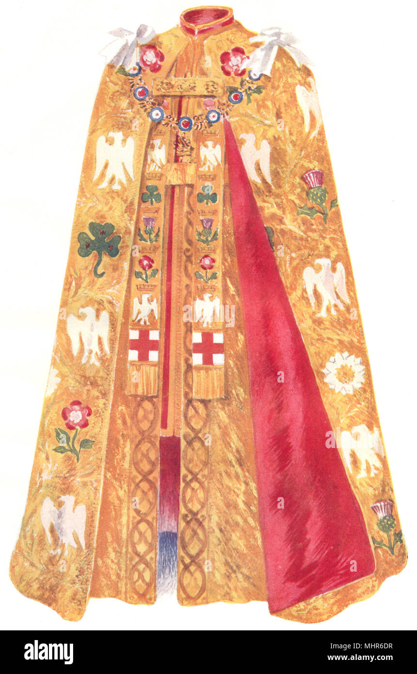 ROYALTY. The Coronation Robes as worn by his Late Majesty King Edward VII 1910 - Stock Image