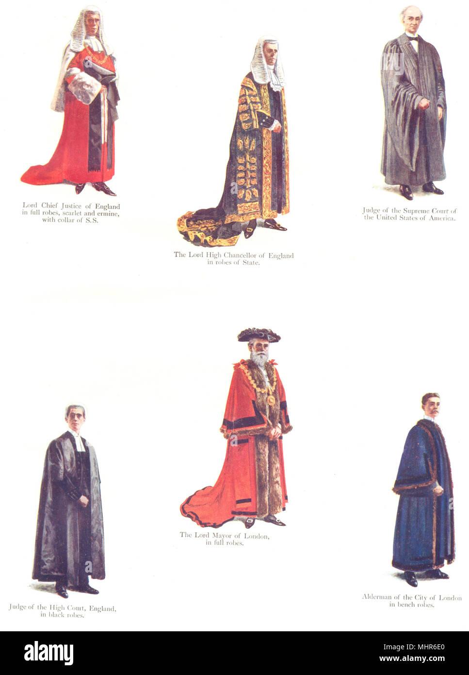 ROBES. Chief Justice,Chancellor,Mayor London; Judge US Supreme Ct; Alderman 1910 - Stock Image