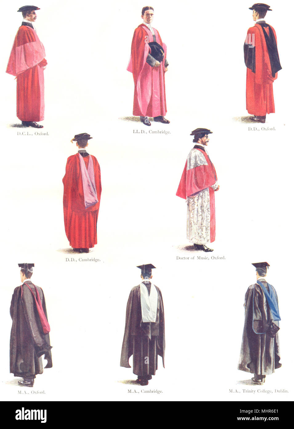 ROBES. Oxford Cambridge Trinity College Dublin. DCL DD Doctor Music LLD MA 1910 - Stock Image