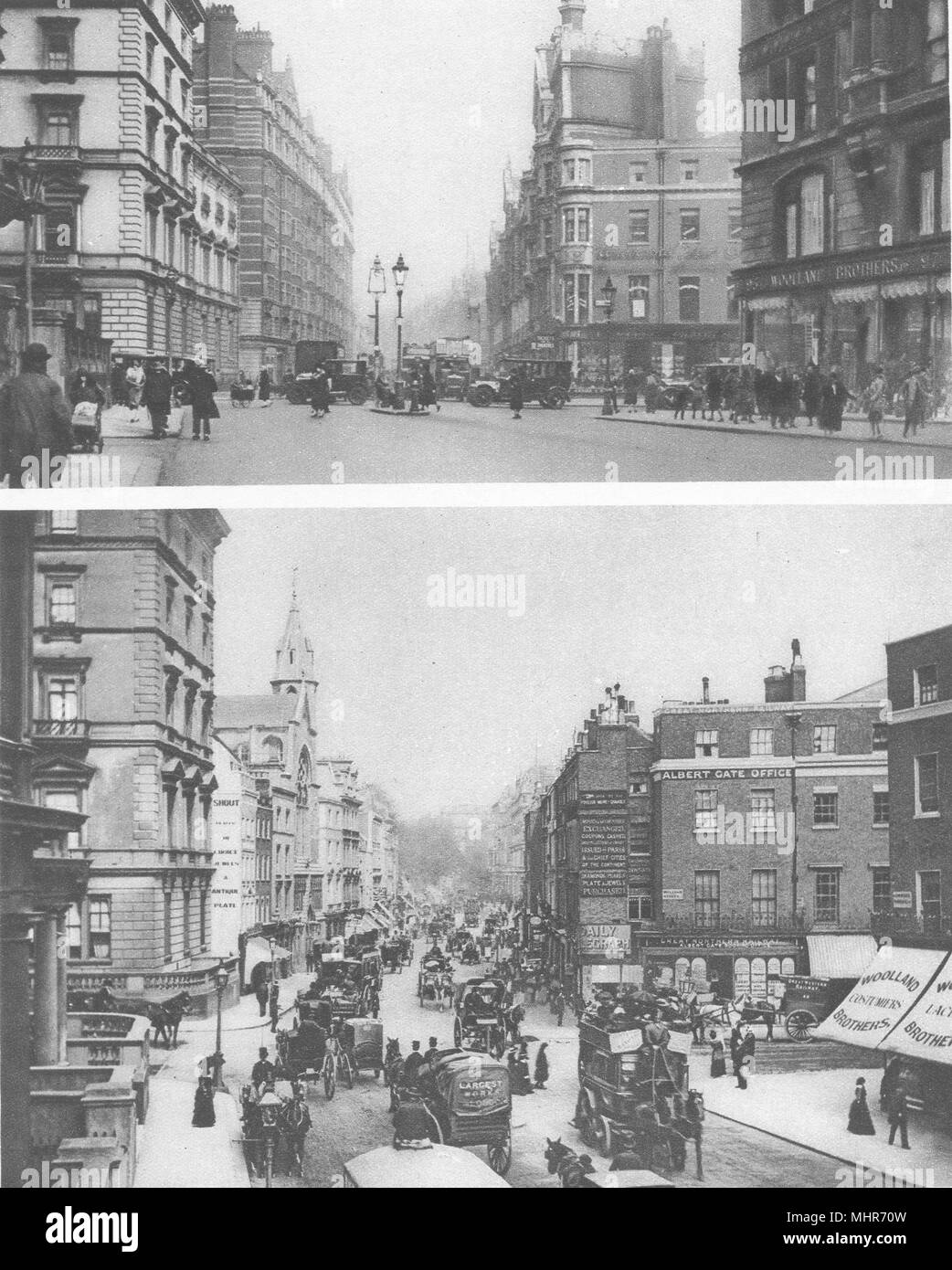 LONDON. Knightsbridge old and new. Only surviving houses from 1890's 1926 - Stock Image