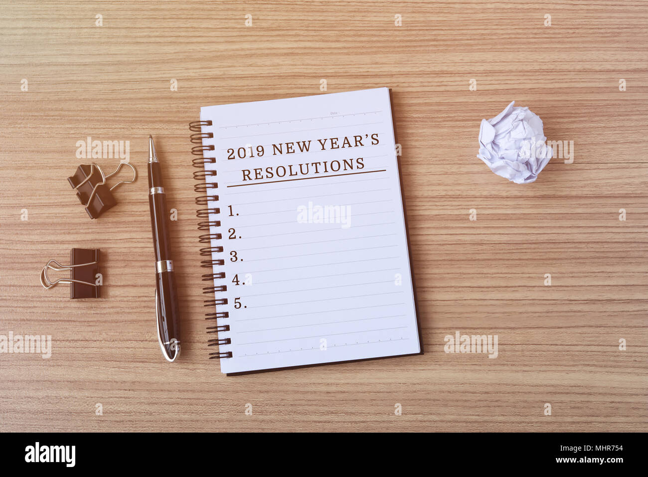 2019 New Years Resolutions 2019 New Year's Resolutions on notepad   retro styles Stock Photo
