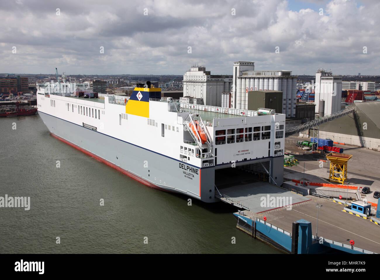 Delphine, Valetta, docked in Dublin Port, Ireland - Stock Image