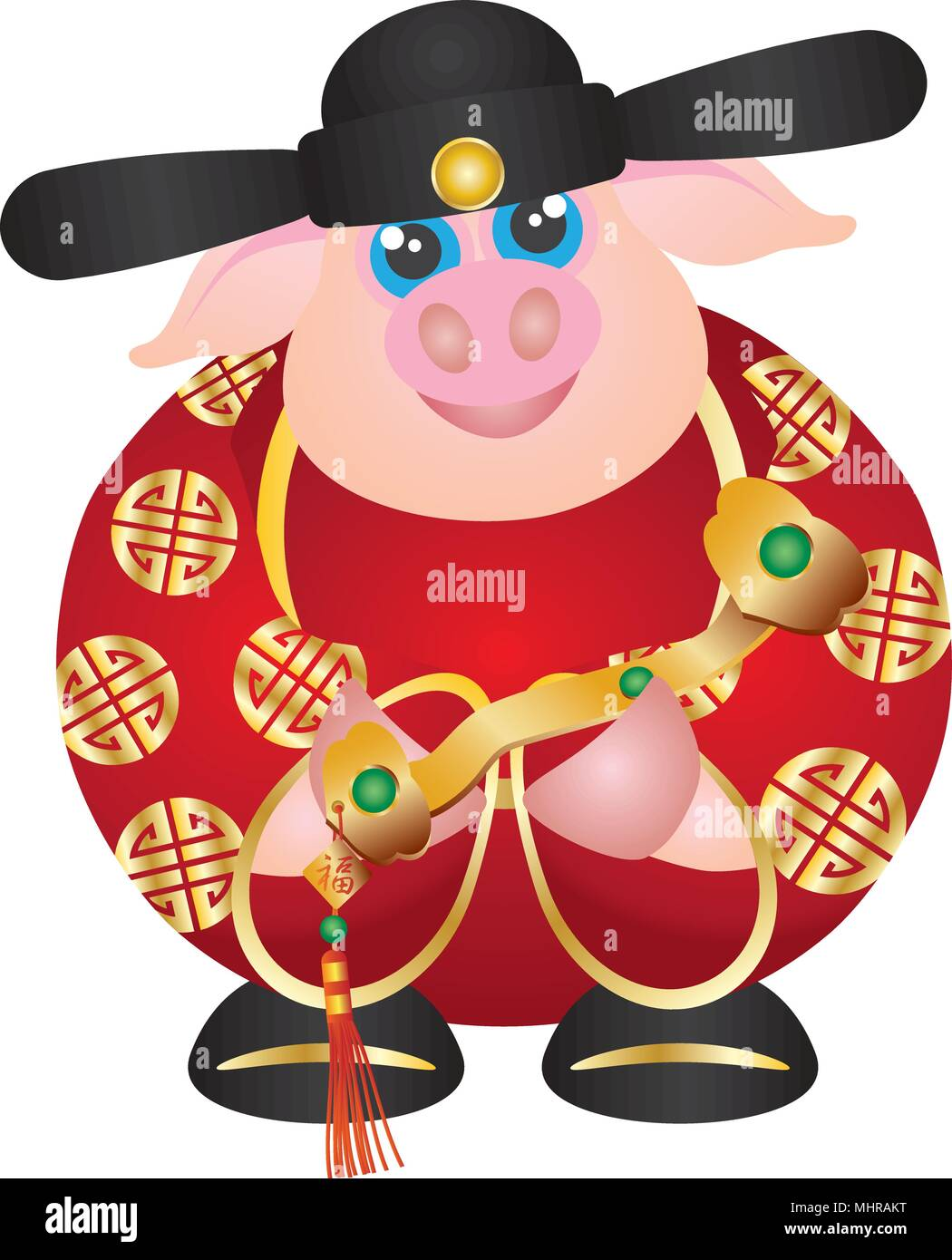 2019 happy chinese lunar new year of the pig prosperity money god holding ruyi scepter with prosperity text illustration on white background