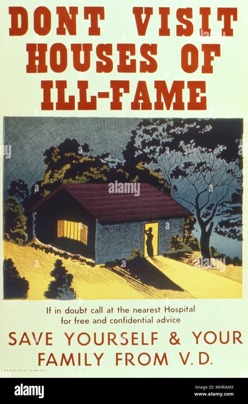 World War II health campaign poster, 'Don't Visit Houses of Ill-Fame', 'Save Yourself and Your Family From VD', 1940. Image courtesy Centers for Disease Control (CDC). () - Stock Image